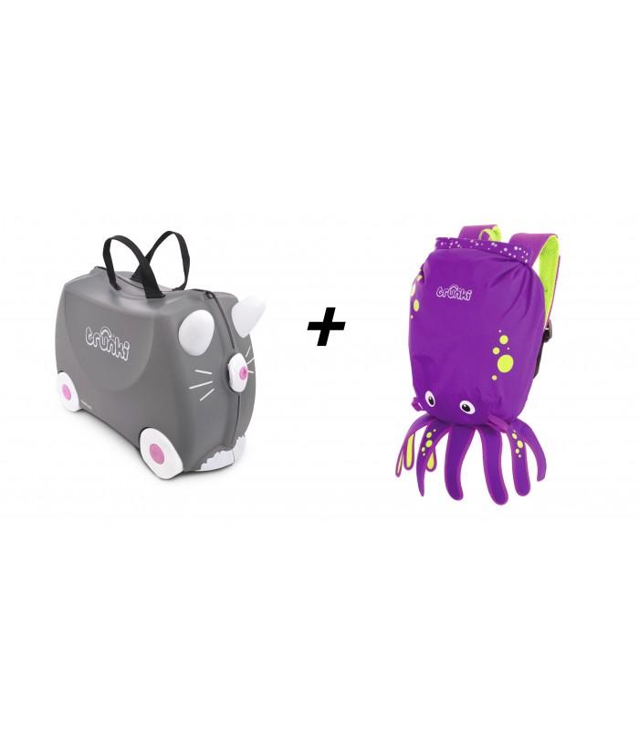 Trunki komplet kovček mucek Benny in vodoodporni nahrbtnik hobotnica